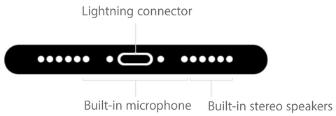 Diagram of the bottom on an iPhone highlighting the microphone and speaker locations