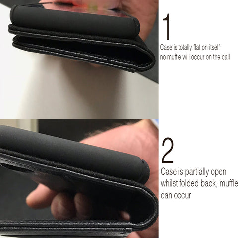 Demonstrating how to hold the phone case to prevent muffled voice issue on iPhone