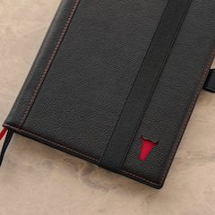 Black Leather A5 Notebook Cover