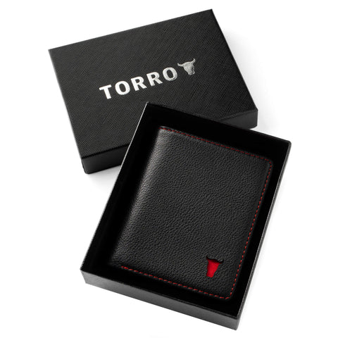 Black with Red Detail BiFold Wallet in Gift Box