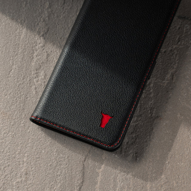 TORRO logo to the front of the Black Leather (with Red Stitching) Stand Case for Galaxy S20 FE