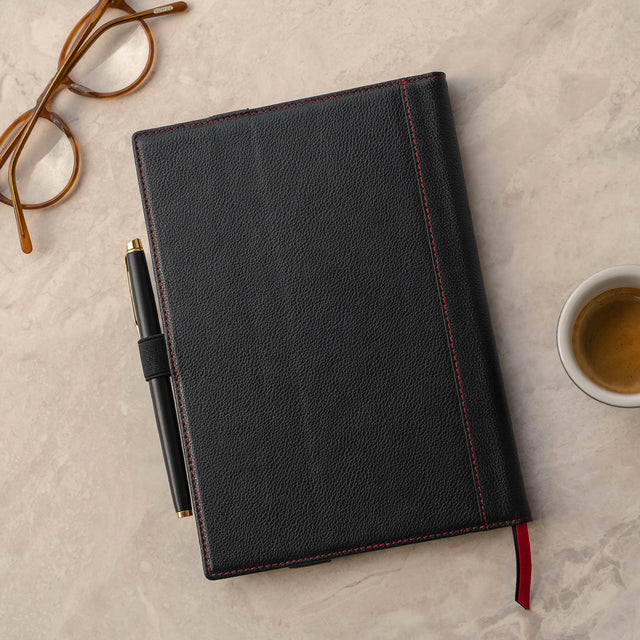 Black Leather (with Red Stitching) A5 Notebook Cover