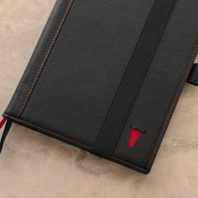 Close up of the Black Leather (with Red Stitching) A5 Notebook Cover