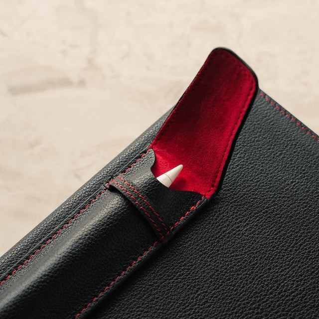 Close up of the Black Napa Leather (with Red Stitching)Apple Pencil Case / Sleeve