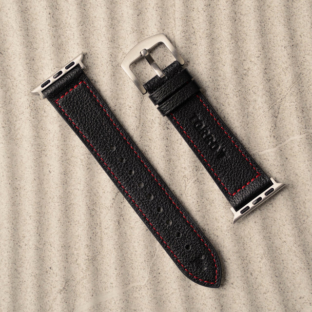Black Leather Strap (with Red Stitching) for Apple Watch