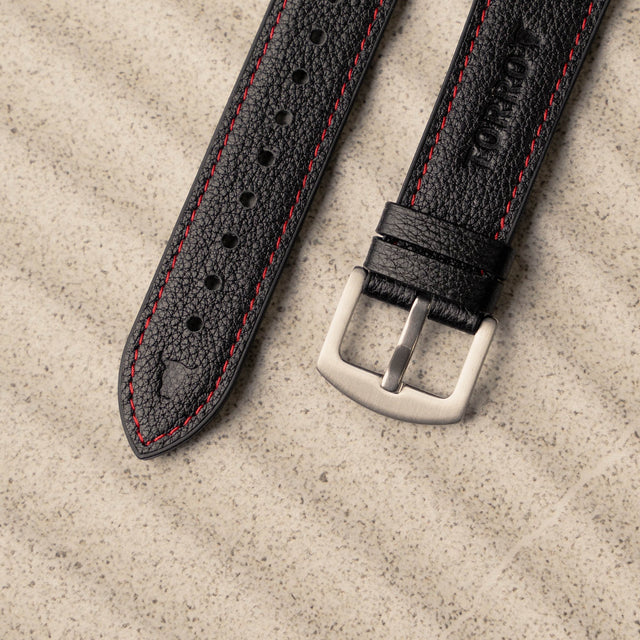 Close up of the Black Leather Strap (with Red Stitching) for Apple Watch