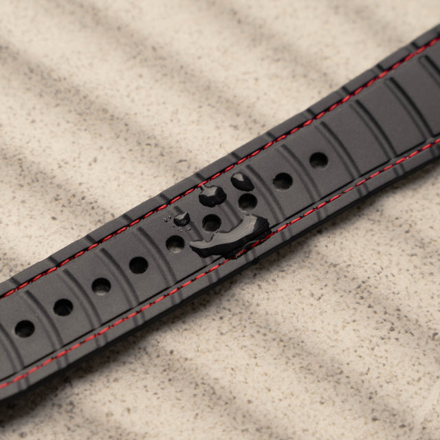 Close up of the inner silicone strap on the Black Leather Strap (with Red Stitching) for Apple Watch