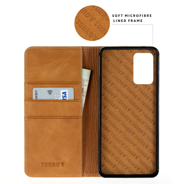 Highlighting the microfibre lined frame in the Tan Leather Stand Case for Galaxy S20 / S20 5G