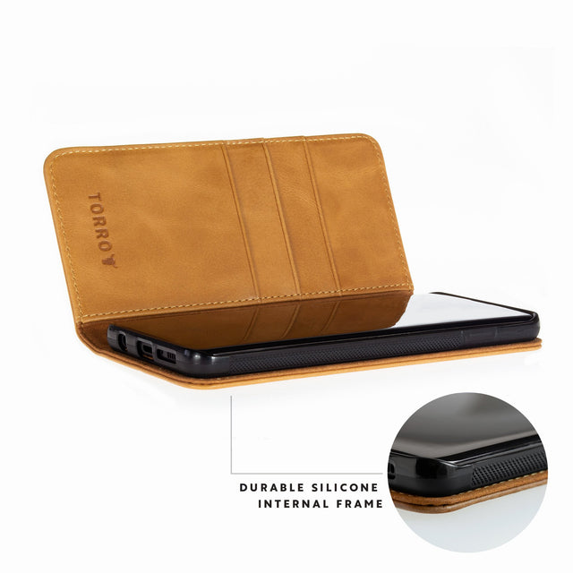 Close up of the durable silicone frame in the Tan Leather Stand Case for Galaxy S20 / S20 5G