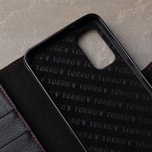 Close up of the Black Leather (with Red Stitching) Wallet Case for Galaxy S20 Plus