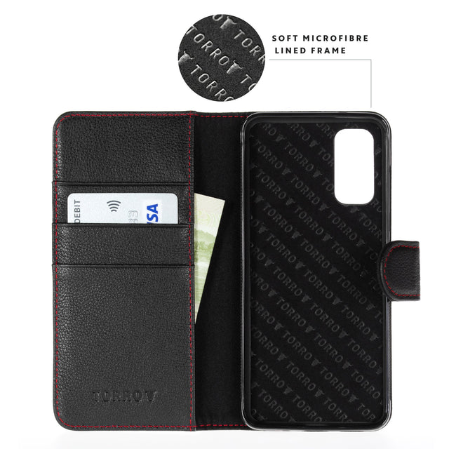 Highlighting the microfibre lining of the Black Leather (with Red Stitching) Wallet Case for Galaxy S20 Plus