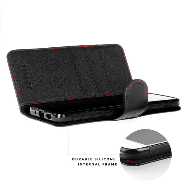 Close up of the durable silicone frame in the Black Leather (with Red Stitching) Wallet Case for Galaxy S20 Plus