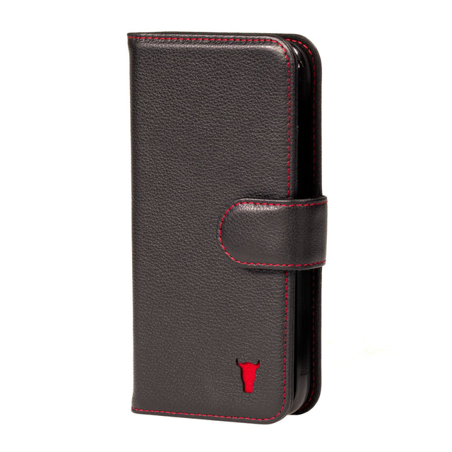 Black Leather (with Red Stitching) Wallet Case for Galaxy S20 Plus