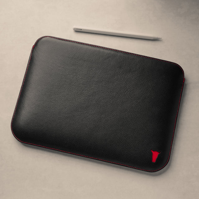 Front of Black with Red Detail Leather iPad Sleeve