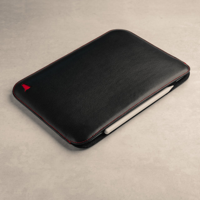 Black with Red Detail Leather iPad Sleeve compatible with the Apple Pencil