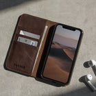 iPhone 11 Pro Max Leather Case - Dark Brown - Open contextual