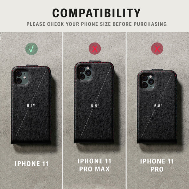 Confirming which iPhone 11 device the Black leather flip down phone case is compatible with