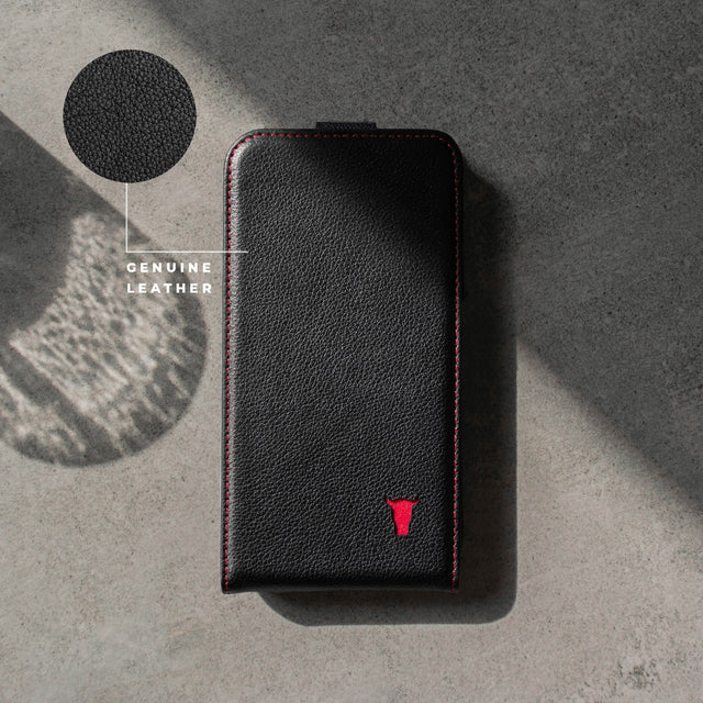 Highlighting the genuine leather material of the Black leather flip down phone case for Apple iPhone 11