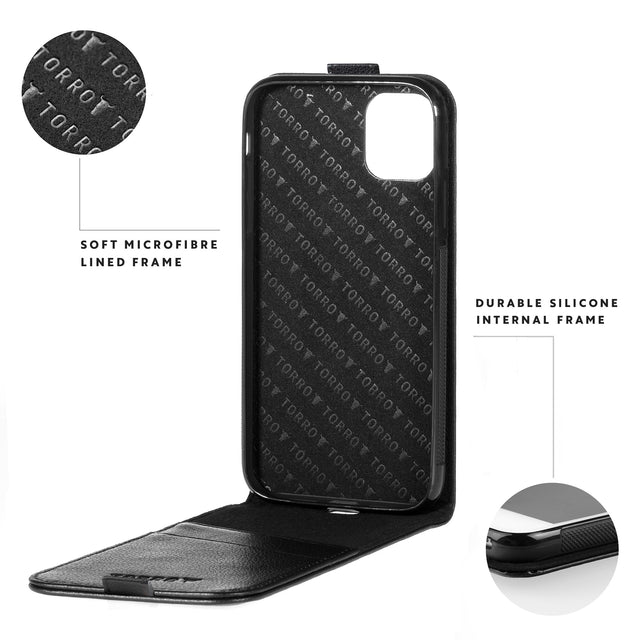 Highlighting the durable silicone frame and microfibre lining of the Black leather flip down phone case for Apple iPhone 11