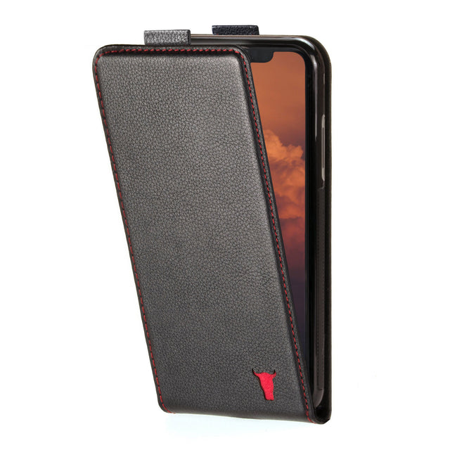 Black Leather (with Red Stitching) Flip Case for iPhone 12 Pro