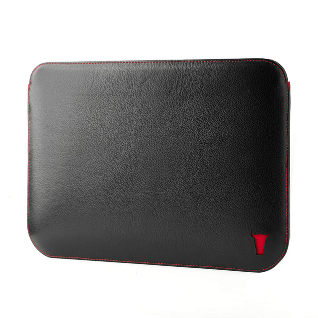 Black with Red Detail Leather iPad Sleeve