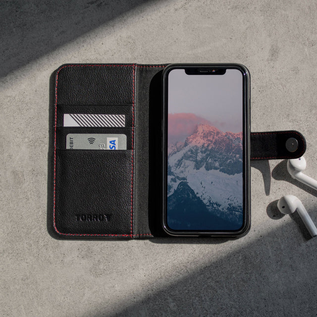 Inside of the Black Leather (with Red Stitching) Wallet Case for iPhone 11 with 3 card storage slots
