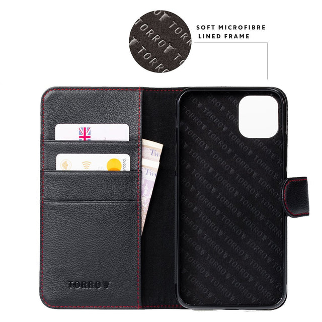 Highlighting the microfibre lining in the Black Leather (with Red Stitching) Wallet Case for iPhone 11