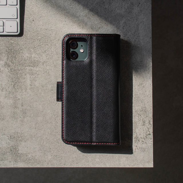 Back and rear camera cutout of the Black Leather (with Red Stitching) Wallet Case for iPhone 11