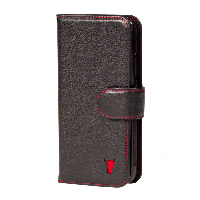 Black Leather (with Red Stitching) Wallet Case for iPhone 11