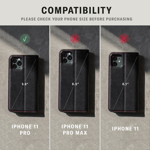 iPhone 11 compatibility of the Black Leather (with Red Stitching) Stand Case for iPhone 11 Pro