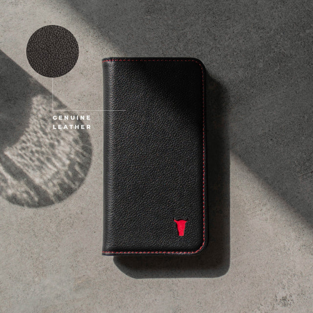 Black Genuine Leather (with Red Stitching) Stand Case for iPhone 11 Pro