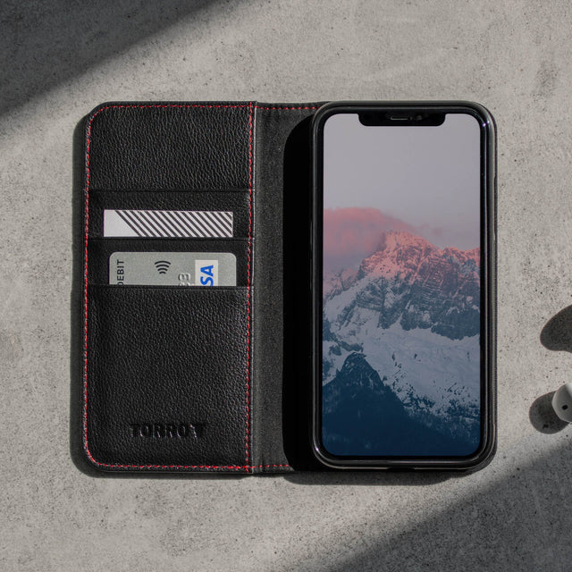 Interior view of the Black Leather (with Red Stitching) Stand Case for iPhone 11 Pro