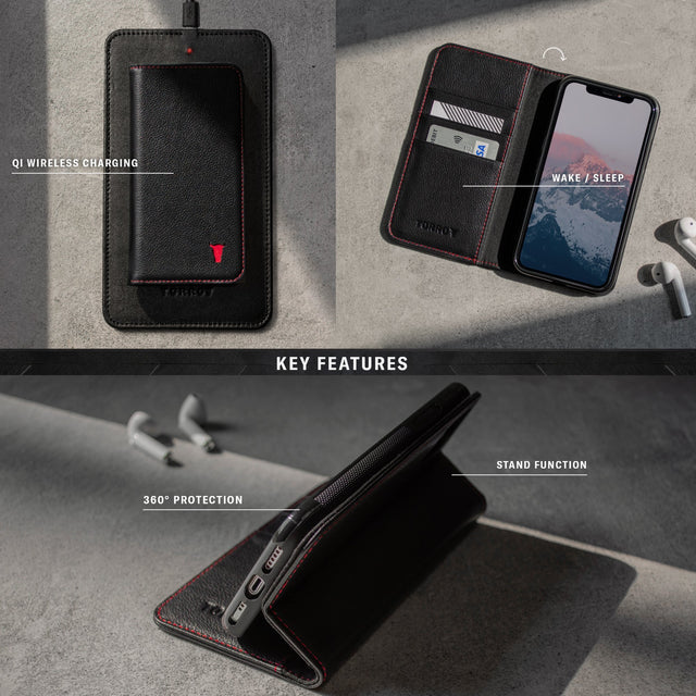 Key features of the Black Leather (with Red Stitching) Stand Case for iPhone 11 Pro including wake/sleep, stand function and qi wireless charging