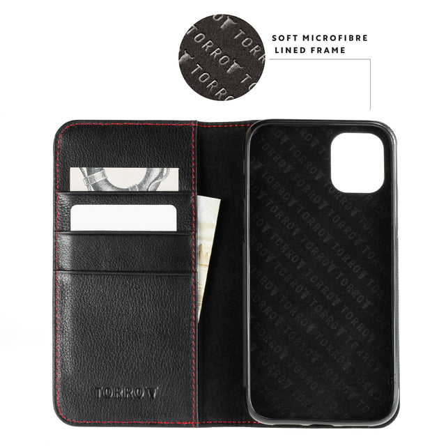 Highlighting the microfibre lined frame in the Black Leather (with Red Stitching) Stand Case for iPhone 11 Pro