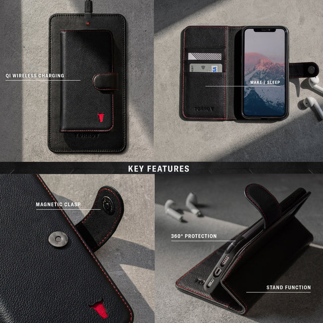 Key features of the Black Leather (with Red stitching) Wallet Case for  iPhone 11 Pro including magnetic clasp, stand function, wake/sleep and wireless charging