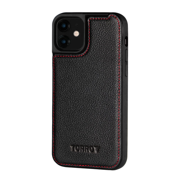 Black Leather (with Red Stitching) Back Bumper Case for iPhone 12