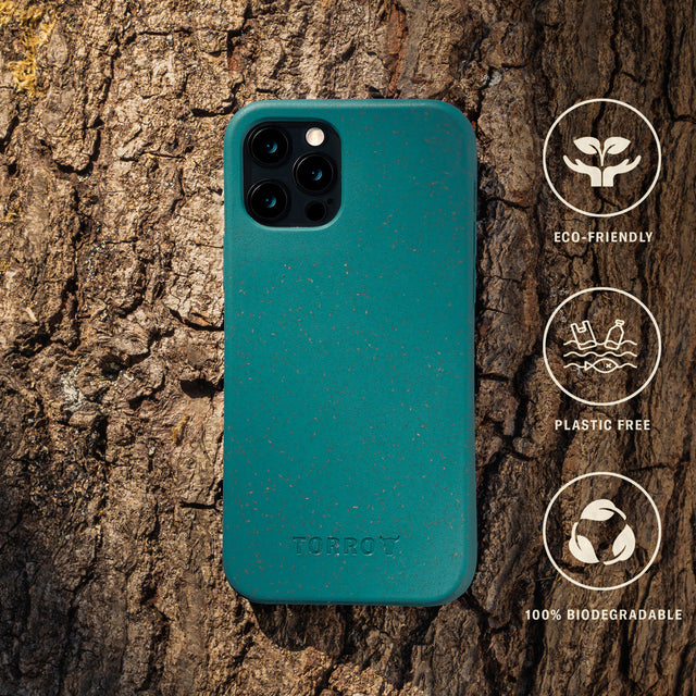 The eco-friendly iPhone 12 Pro Back Bumper Case in green is 100% biodegradable and plastic free.