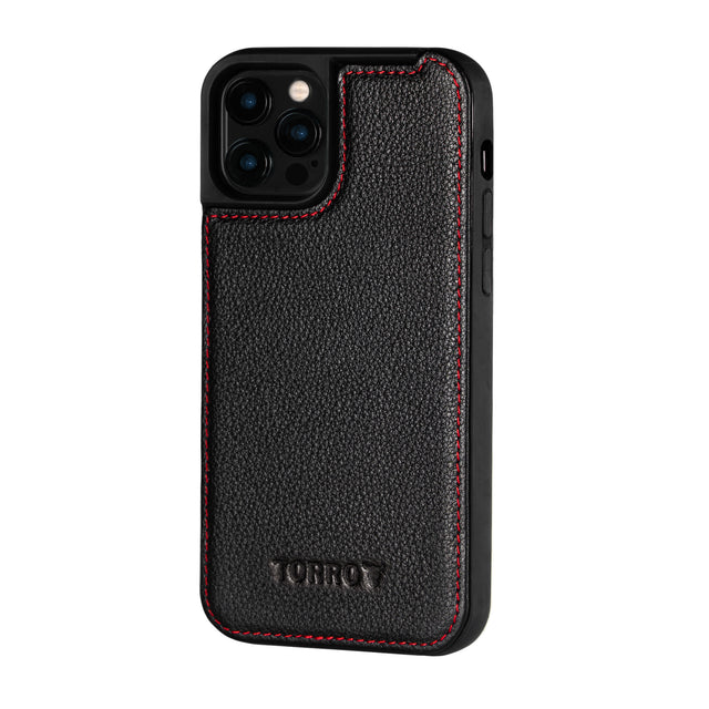 Black Leather (with Red Stitching) Back Bumper Case for iPhone 12 Pro Max