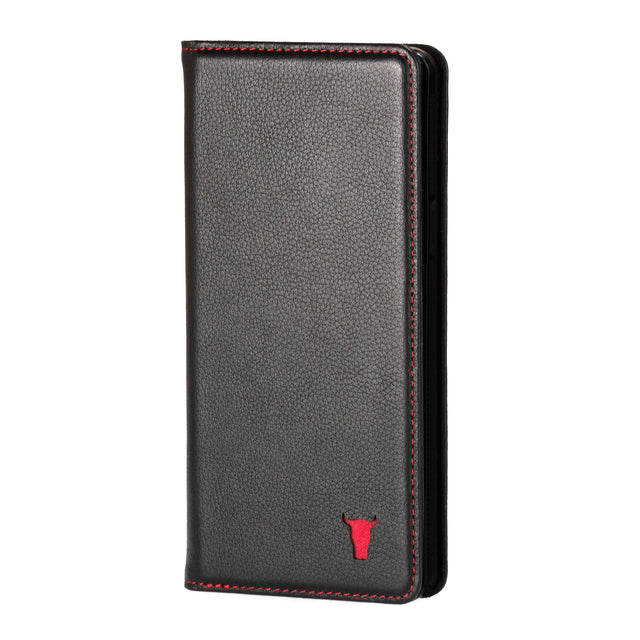 Black Leather (with Red Stitching) Stand Case for iPhone XR