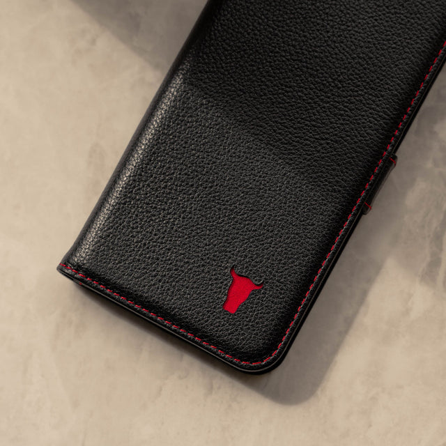 Close up of the Black Leather (with Red Stitching) Stand Case for iPhone X/XS
