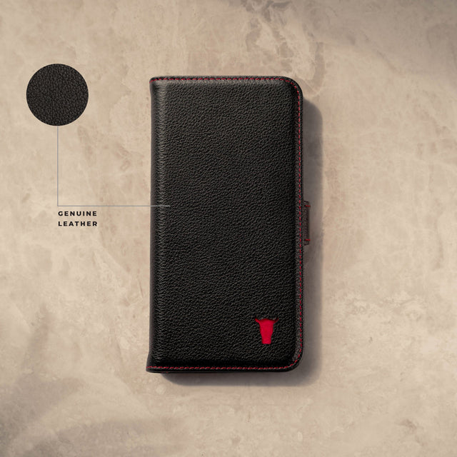 Genuine Black Leather (with Red Stitching) Stand Case for iPhone X/XS