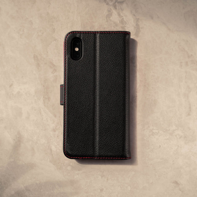Back and rear camera cutout on the Black Leather (with Red Stitching) Stand Case for iPhone X/XS