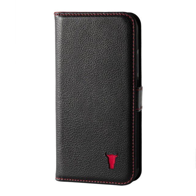 Black Leather (with Red Stitching) Stand Case for iPhone X/XS