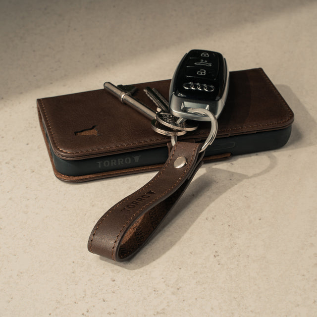 Dark Brown Leather Keyring with matching TORRO phone case