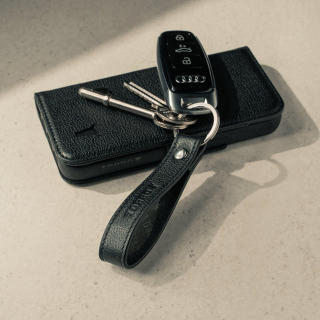 Black Leather Keyring with matching TORRO phone case