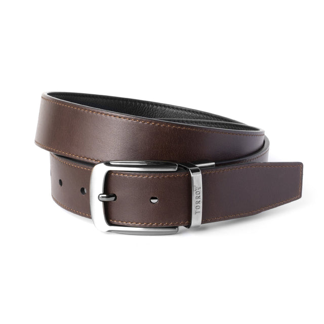 Brown Reversible Leather Belt Presented in a TORRO gift box