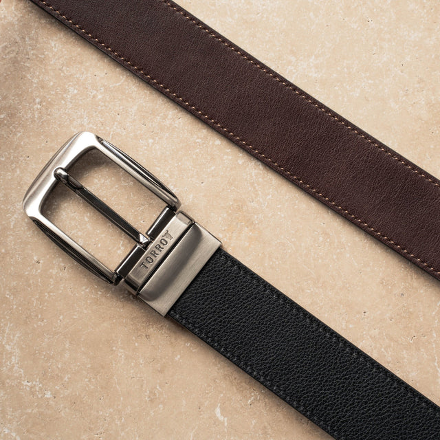 Black and Brown reversible leather belts Presented in a TORRO gift box