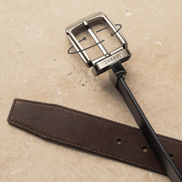 Reversible Leather Belt - Push/pull swivel mechanism Presented in a TORRO gift box