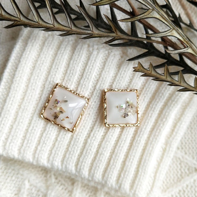 White Geometric Earrings