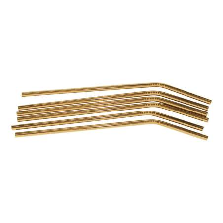 6 Pc Gold Drinking Straw,Bend